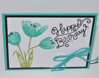 Hand Stamped Teal Tulip Birthday Card