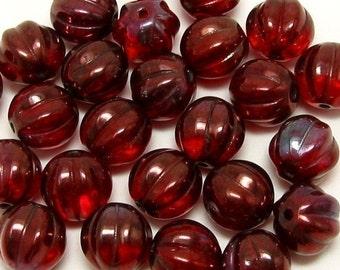 Czech Glass Melon Beads Ruby Vega 25 Pc. C86