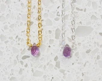 Amethyst Briolette Necklaces - Silver or Gold