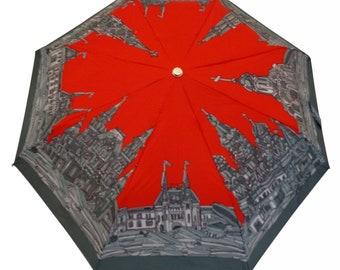 Red Square Folding Umbrella (unique design, automatic, three-folding, 27 cm length)