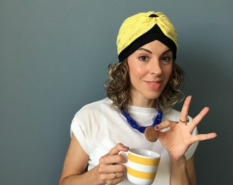 yellow woman hat turban