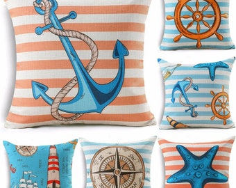 Indoor Outdoor Pillows 18 x 18 Nautical Pillow Covers Anchor Lighthouse Starfish Compass Patio Pillows Pillow Cases Decorative Pillows