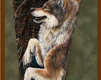 Red Tailed Hawk and Wolf Feather Print