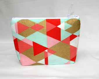 Cosmetic Bag, Make up Bag, Makeup Bag, Toiletry Bag, Zipper Bag, Travel Bag, Cosmetic Purse, Zippered Pouch, mother's day, geometric fabric