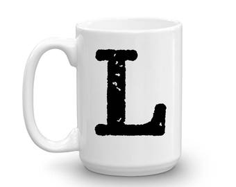 Initial Mug - Letter L - 15oz Ceramic Cup - Brother-in-Law Gift Mug - Right-Handed or Left-Handed Mug