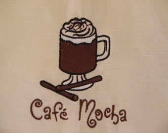 Embroidered Linen Towel Cafe Mocha