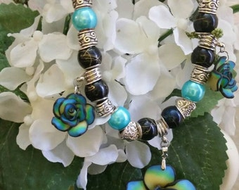 Yellow, Green, Blue, Black, and Silver  Polymer Clay Rose Necklace with Large Beads and rhinestone spacers / Womens Jewelry