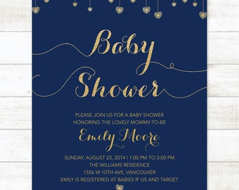 navy and gold baby shower invitation navy and gold glitter hearts printable modern chic shower digital invite customizable