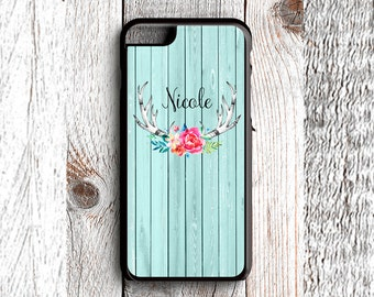 Rustic Floral Deer Antlers - Monogrammed - iPhone 6s, iPhone 6s Plus, iPhone 7s, iPhone 7s Plus, Samsung S6 Phone Case