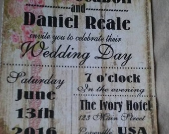50 Wedding Invitations  rustic wood background with roses with matching white envelopes