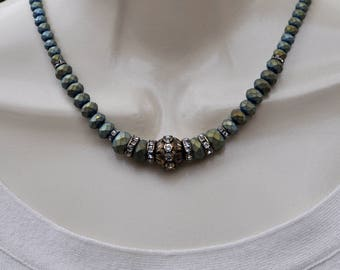 Antique Bronze and Green Opaque Crystal Necklace and Earring Set
