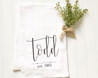 personalized tea towel, custom name tea towel, wedding gift, gift for newlyweds, flour sack tea towel, kitchen decor, housewarming gift