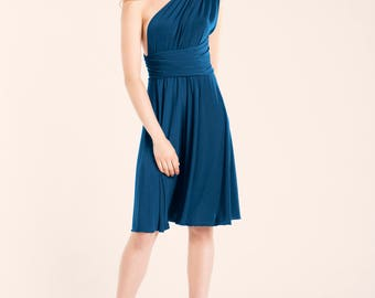 SALE Dark blue short dress, snorkel blue dress, short infinity dress blue, blue party dress, one shoulder dress, seconds clearence