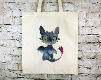 Toothless the dragon tote bag