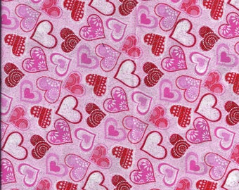 Valentines Day Pink Hearts Glitter Curtain Valance