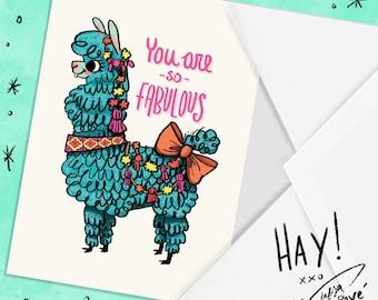 Fabulous Llama Blank Greeting Card