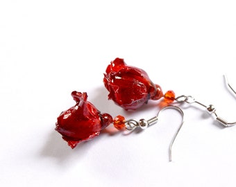 Cute dangle rose earrings, real flower crystal resin jewelry, red floral jewelry, wife gift, earrings mother in law gift, small roses art