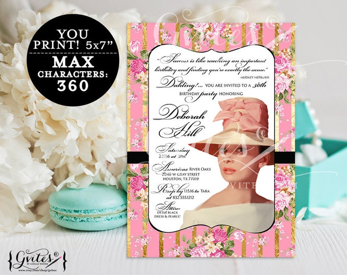 Breakfast at Audrey Hepburn birthday invitation, 30th  40th, 50th party printable, diamonds pearls theme, digital files, 5x7 Digital File