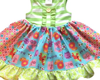 Elmo Abby Cadabby Zoe Sesame Street dress girls momi boutique