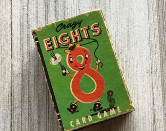 Vintage Mini Playing Cards - Crazy 8 Card Game