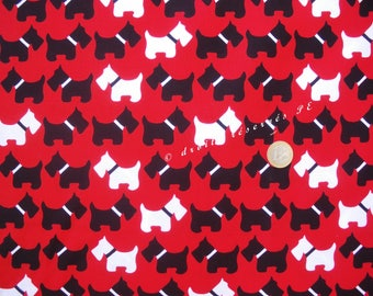 SCOTTISH TERRIER red Patchwork fabric coupon