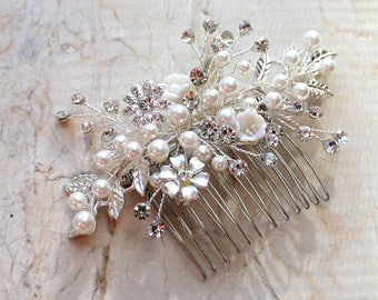 Silver Leaf Vine Wedding Headpiece. Boho Crystal Pearl Bridal Hair Comb. Rhinestone Flower Wire Pin, Rose gold Hairpiece. FLORA-S