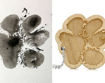 Unique keychain created from your pet's paw print. Cat dog paw engraved on wood. Customizable animal keychain