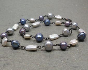 Pearl Chain Necklace Gray White Purple Wire Wrapped Oxidized Sterling Silver Gift for Her