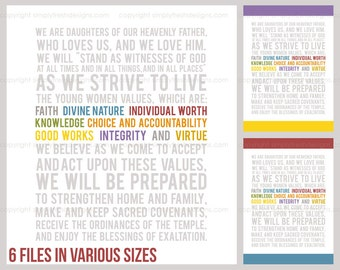 LDS YW Theme Values Colors - Subway Art - Instant Download
