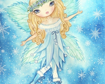 Fairy art print. Girls room art. Nursery fairy art. Gift for her. Snow Fairy watercolor painting. Winter Fairy art print. Christmas Fairy.
