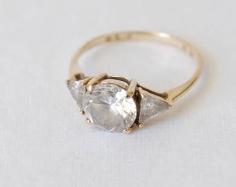 Vintage Wedding Ring - Rosy 10K Yellow Gold 3 Stone Ring - Engagement Ring
