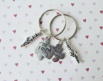 Bestfriend keyring, balet bestfriend keyring, ballerina keyring, ballerina shoes keyring, bestfriend gift, jigsaw puzzle keyring, bag charm