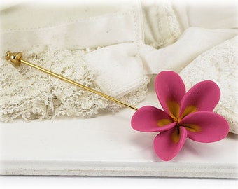 Plumeria Stick Pin - Frangipani Pin, Plumeria Jewelry