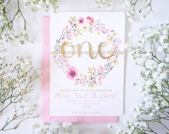 Boho first birthday invitation, Floral 1st Birthday invitations, handmade Baby girl invitation, floral wreath, Pink and Gold first birthday,