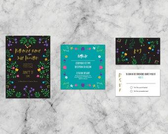 Katherine Floral Suite   Customized Wedding Invitation Template Set