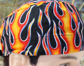 Classic Motorcycle Flame Print Men's Scrub Hat
