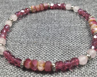 Raspberry Czech and Rose Quartz Stretch Bracelet