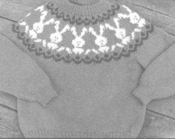 eweCanknit pattern 130: The Bunny Fair Isle knit sweater pattern child sizes 2-8 uses worsted weight yarn
