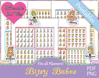 Printable Planner Stickers, Bitsy Babes, Functional, Cute Girls, Laundry, Cleaning, Shopping, Work, Pay Bills, Blonde Hair, Me Time Sick Day
