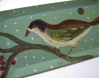 Vintage Rectangular Painted Tray with Bird