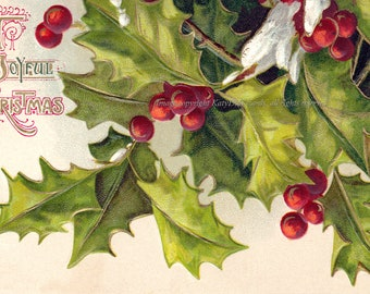 Christmas Greeting Card - Holly and Berries with Snow