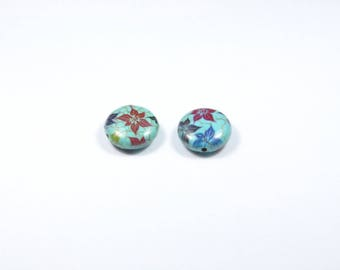 PE58 - Set of 2 beads, reconstituted turquoise