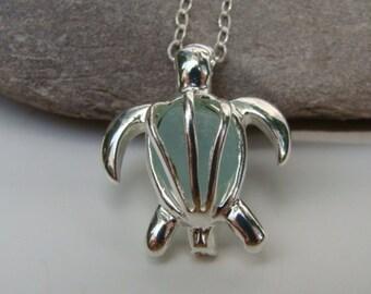 Sea Turtle Pendant Necklace - Aqua Sea Glass - Turtle Jewelry - Sterling Silver Chain