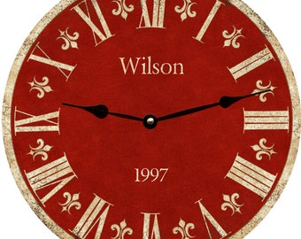 Red Clock. Personalized Red Clock