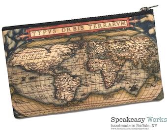Historic World Map—World Map Artwork, Worldmap, Travel Bag, Boarding Pass Bag, Passport Bag, Makeup Bag