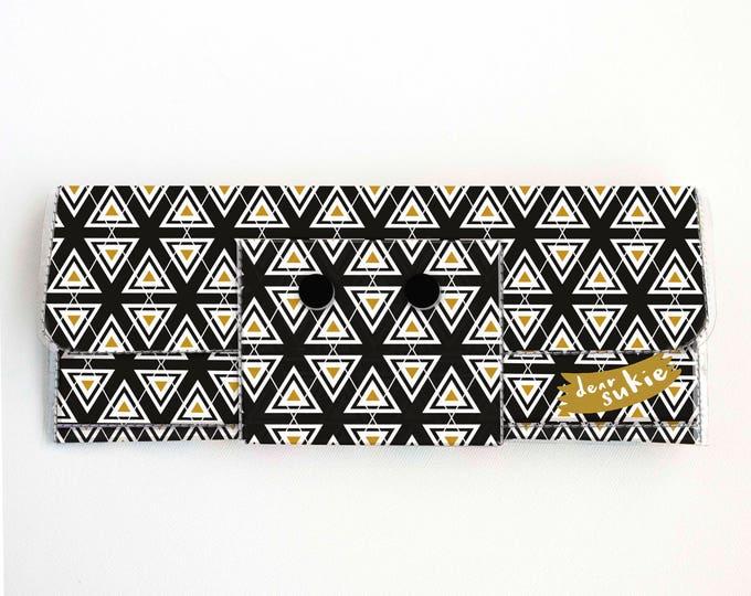 Vinyl Long Wallet - Aztec3 / vegan, large wallet, clutch, card case, vinyl wallet, handmade, aztec, geometric, mustard, bohemian, zipper