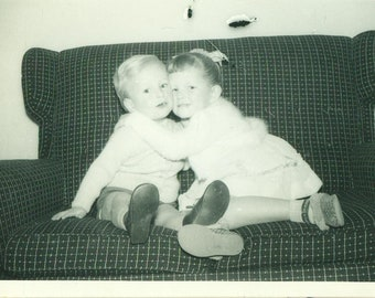 1959 Brother Sister Kids Sitting on Couch The Rebels 50s Vintage Photograph Black White Photo