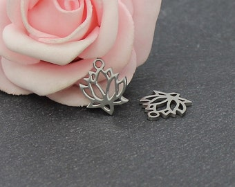 2 charms connectors 14.1 stainless steel lotus flower x 11.8 mm AC02