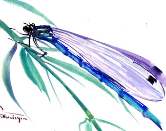 Dragonfly Painting, blue turquoise small watercolor art, 7 x 5 in, dragonflies, dragonfly art, small artwork, gift, unique gift, watercolor