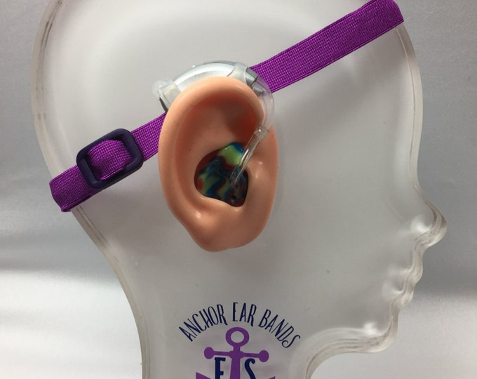 Purple - Hearing Aid Heaband - Adjustable Length - Clear Silicone Sleeve - Non Slip Grip - Unilateral, Bilateral and Bimodal options